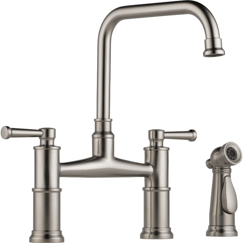 Buy Brizo 62525LF Two Handle Bridge Kitchen Faucet with Spray at Discount Price at Kolani