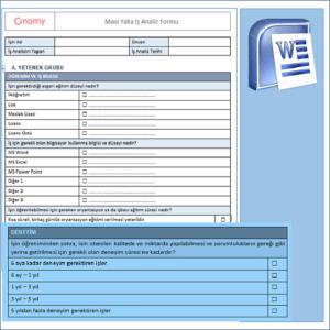 Mavi Yaka İş Analiz Formu OnomyWeb