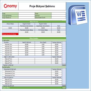 Onomy Proje Set 1 - Proje Bütçesi Şablonu 0