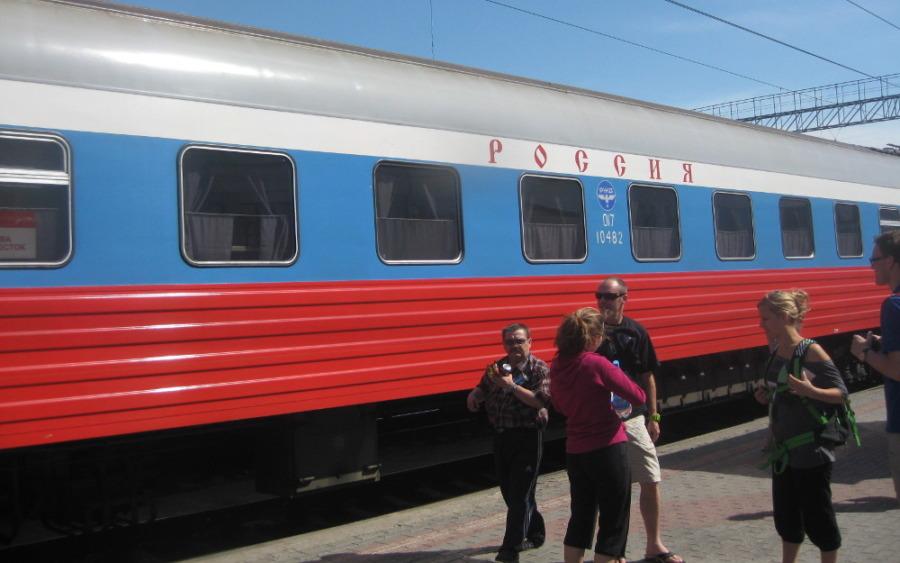 Pociąg firmowy Rossija podczas postoju