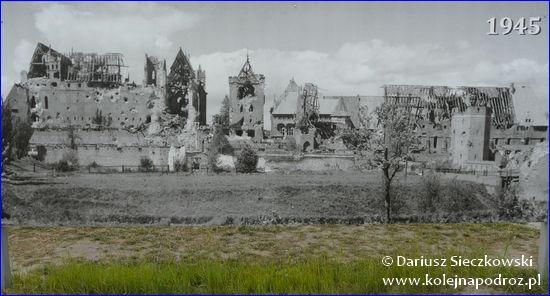 Malbork - zdjęcie pokazujące Zamek Krzyżacki w 1945 roku