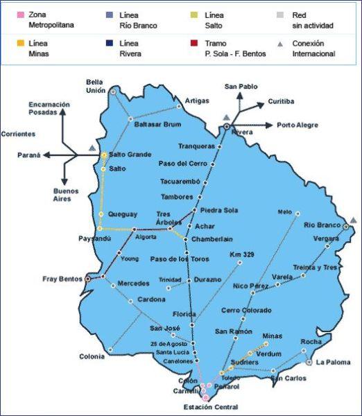 Urugwaj mapa kolejowa