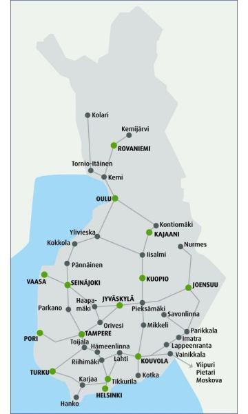 Finlandia mapa kolejowa