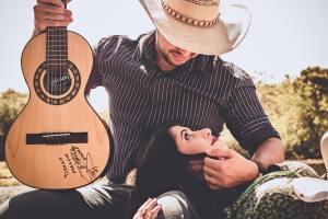 music theme wedding, engagement shoot
