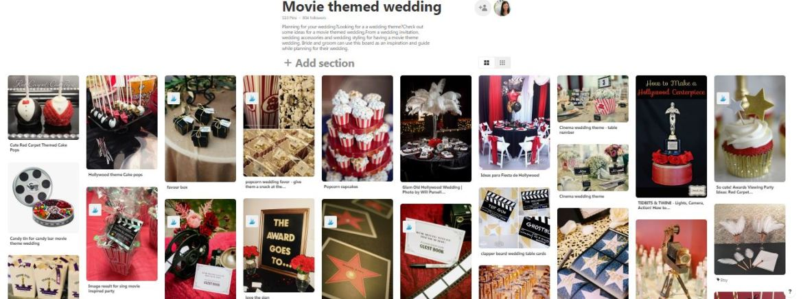 hollywood themed wedding, movie themed wedding, wedding inspiration