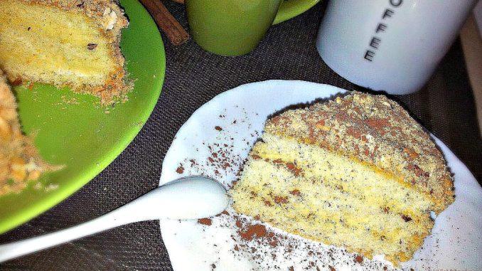 Торт бісквітний з заварним кремом. Рецепт