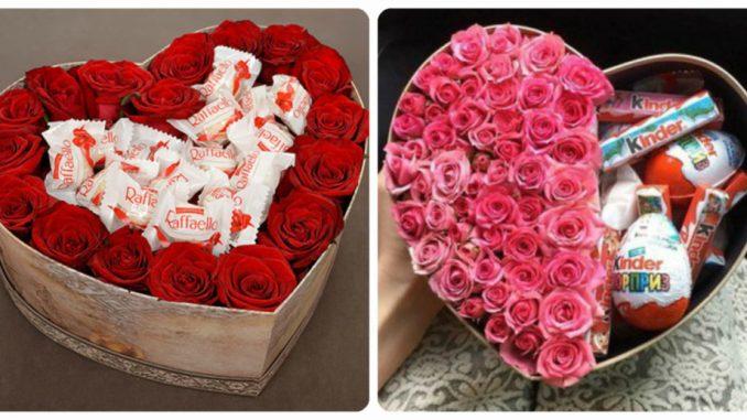 Букети та композиції у вигляді серця: оригінальні букети з солодощів та квітів (фото)