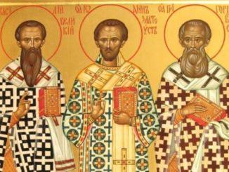 12 лютого - Собор Трьох святих: Василія Великого, Іоана Златоуста, Григорія Богослова