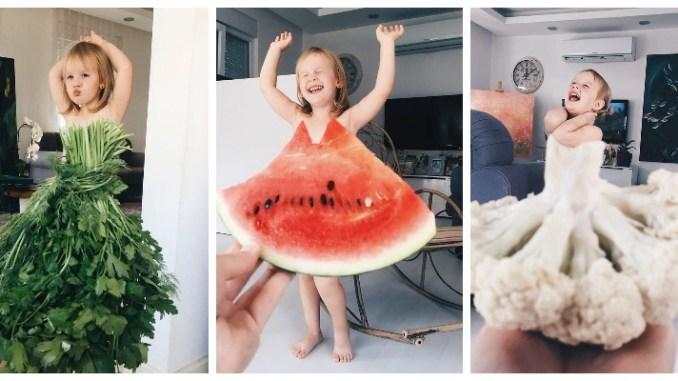 """Мама прославила доньку, фотографуючи її в оригінальних """"сукнях"""" з їжі і квітів (18 фото)"""