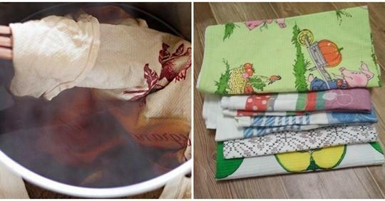Дієвий спосіб, який легко позбавить кухонні рушники від бруду та жиру