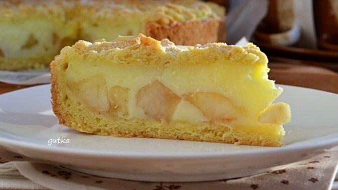 Пиріг з яблуками та вершковим пудингом — рецепт