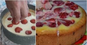 Випічка заливного пирога «Коли сезон полуниці в розпалі»