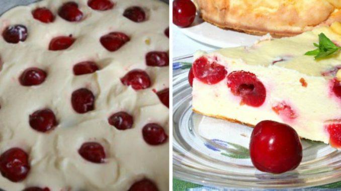 Сирна запіканка з вишнею або черешнею — ідеальний варіант для літнього десерту