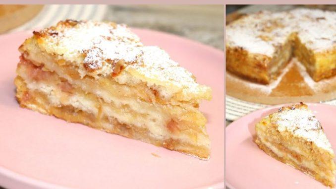 """Навіть тісто готувати не потрібно! Знаменитий насипний яблучний пиріг """"Три склянки"""" по-болгарськи"""