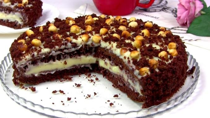 """Шоколадний торт на кефірі """"Фантазія"""". Дуже швидкий і простий рецепт до чаю!"""