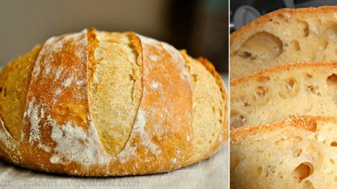 Домашній хліб без замісу: дуже простий рецепт! Пишний, запашний, з хрусткою скоринкою.