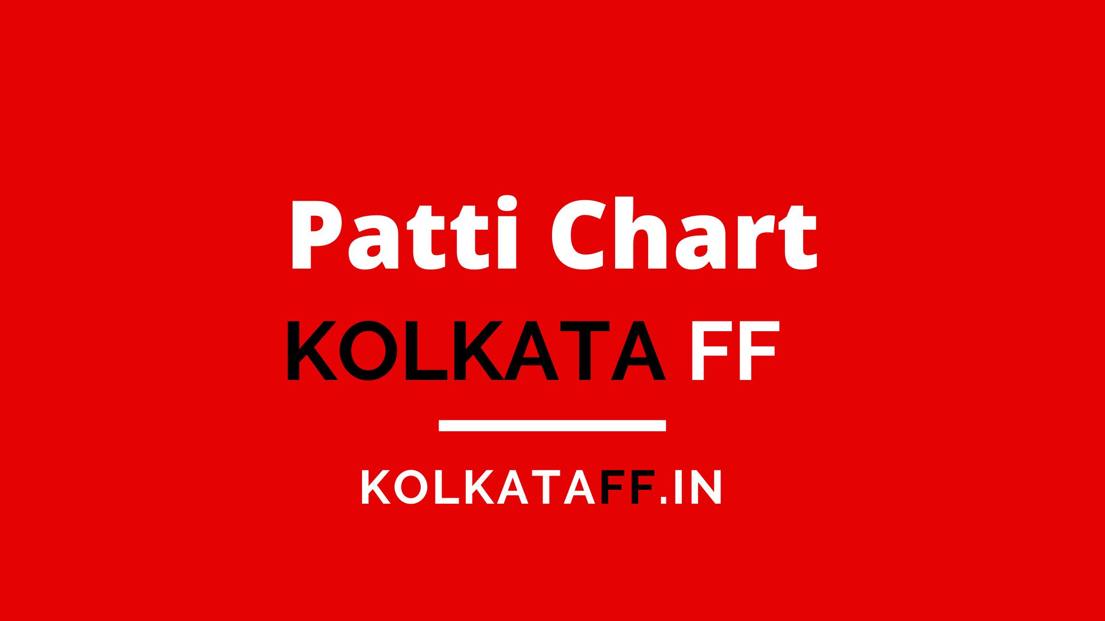 Kolkata FF Patti Chart