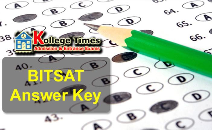 BITSAT Answer keys 2018 :- Download here