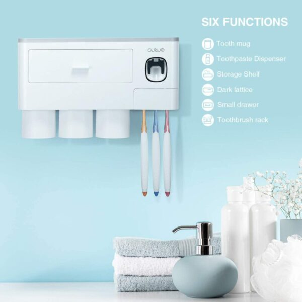 Toothpaste Dispenser, Space Saving with Magnetic Cup Design