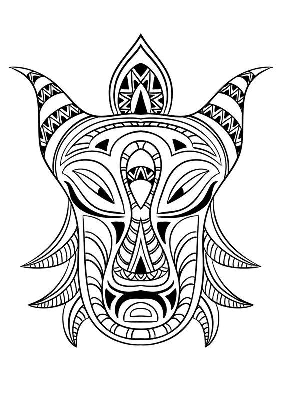 Kolorowanki dla dorosłych: afrykańskie maski do wydruku
