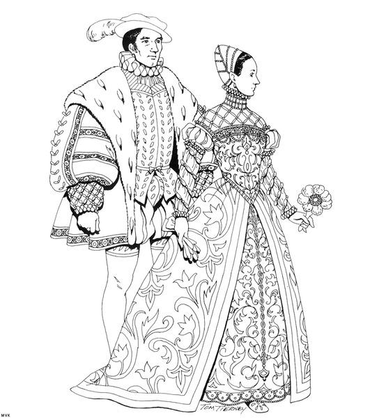 Historyczne ubrania do druku
