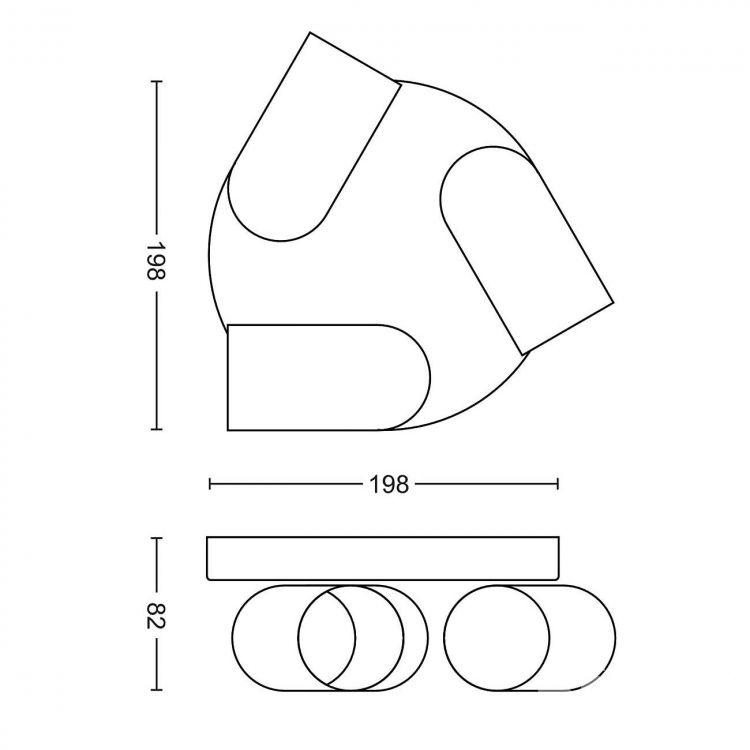 Pongee plafon-reflektor 3x10W GU10 230V czarny, indeks