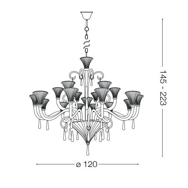 Santa żyrandol lampa wisząca 18x40W E14 230V transparentna