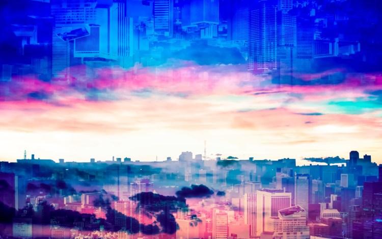 街の風景のフォトコラージュ画像
