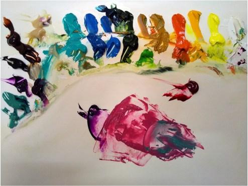 パレットの上に出された油絵の具