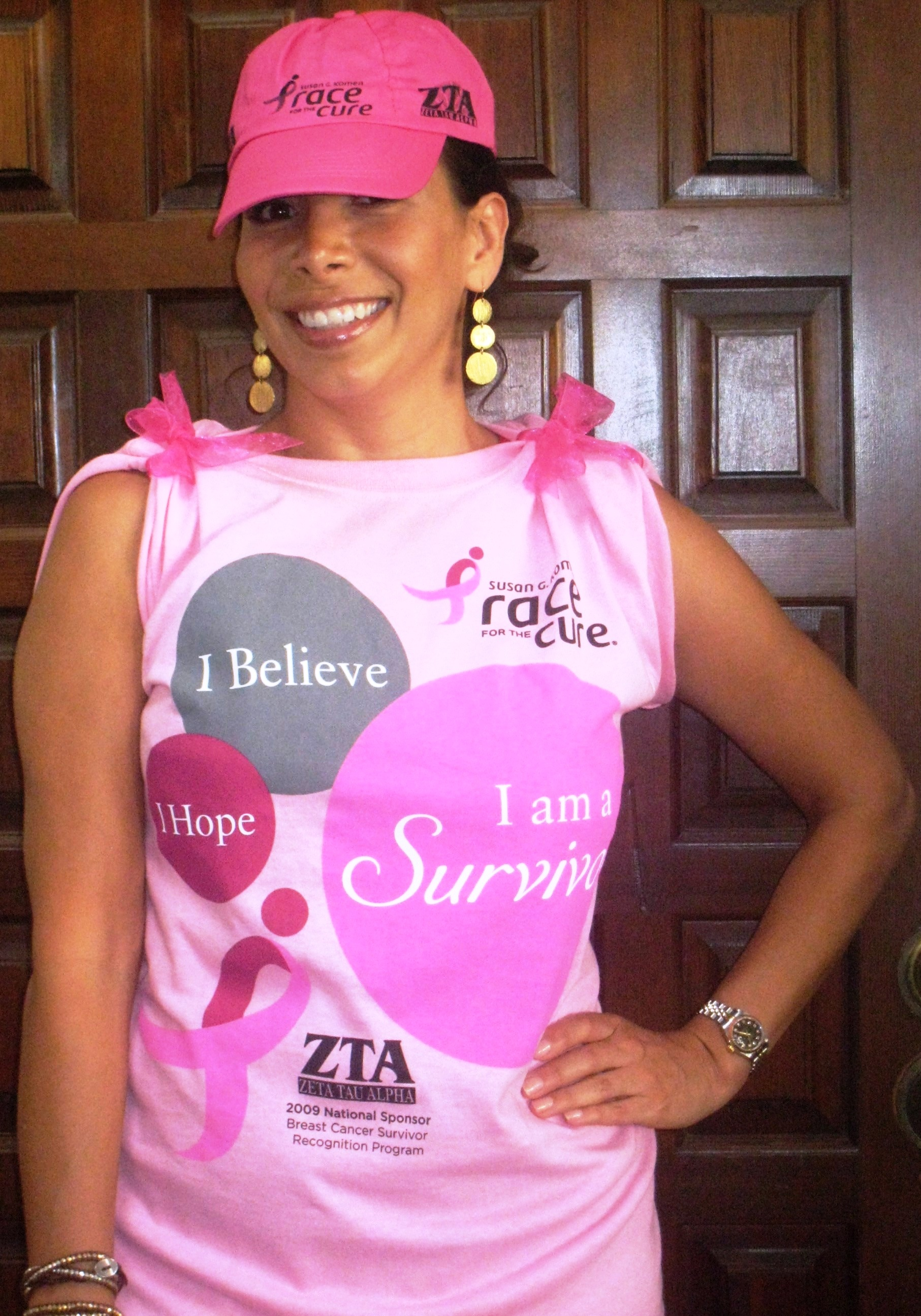 Survivor Monica Olmos gives a sneak peak of the 2009 survivor T-shirt and visor.