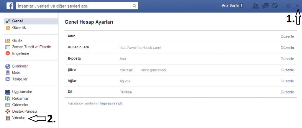 Facebook Otomatik Video Oynatma Kapatma