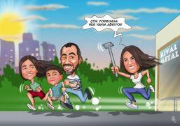 Stresli anne ve aile karikaturu