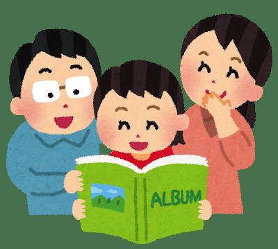 アルバムを見る家族