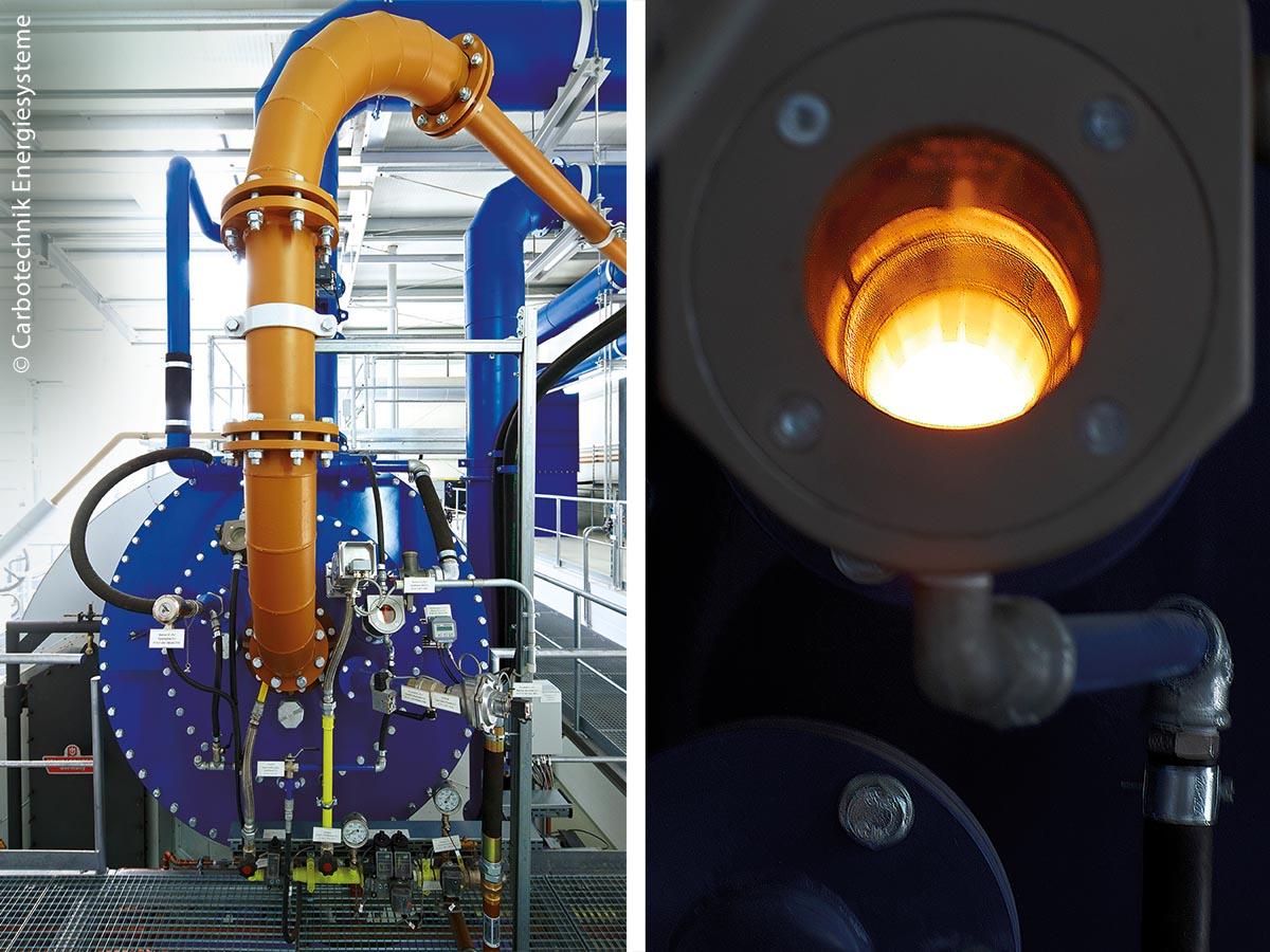 Brennerkopf mit Brennstoffzuführung (links): Über dem patentierten Impulsbrenner verbrennt der Klärschlammstaub, wodurch Wärme und hochwertige Asche entstehen. Rechts: Blick durch Schauglas auf die Flamme in der Nachbrennkammer.