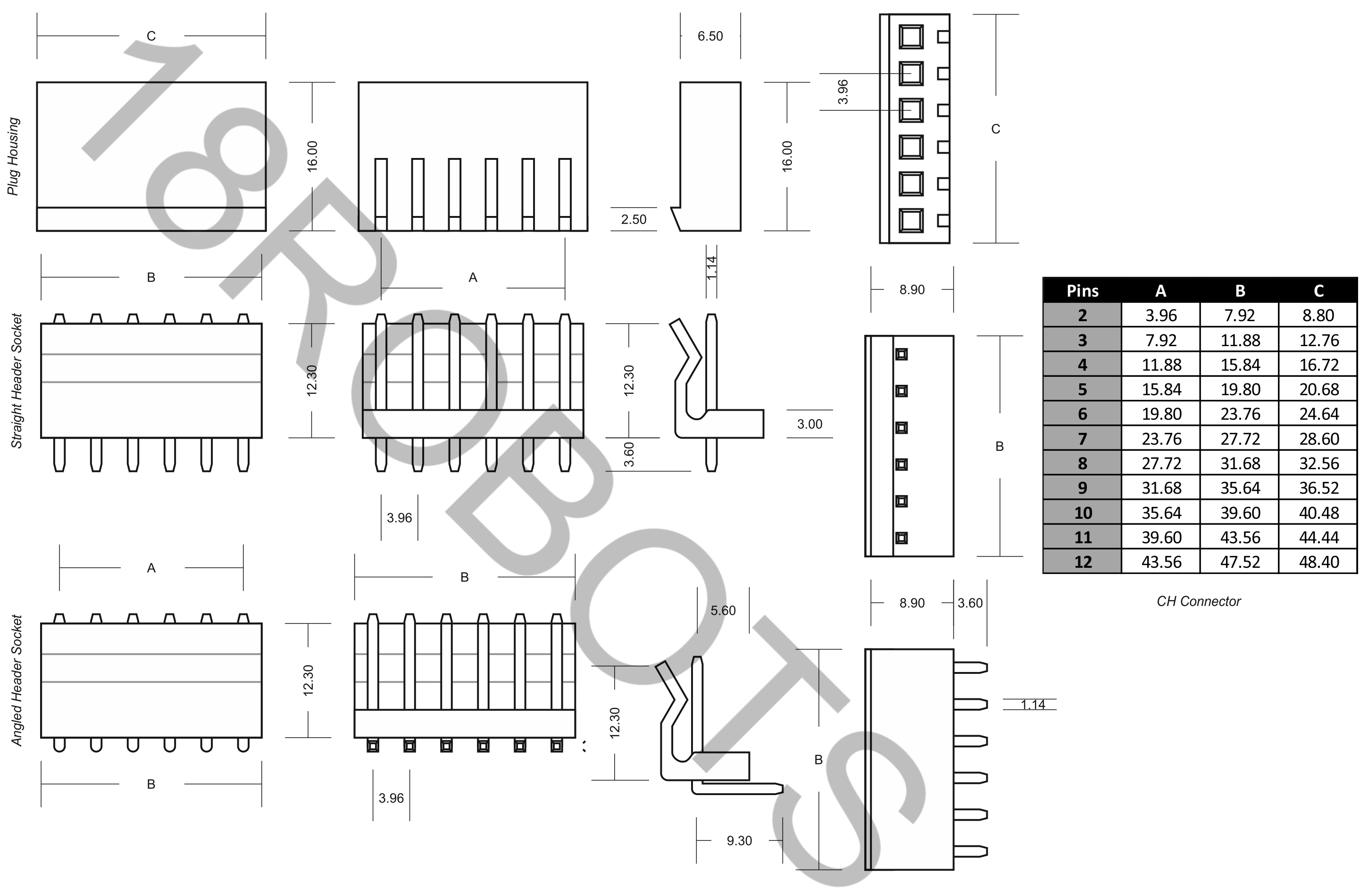 CH 3.96mm Connector Sets (2-12 Pin) Housing + Header