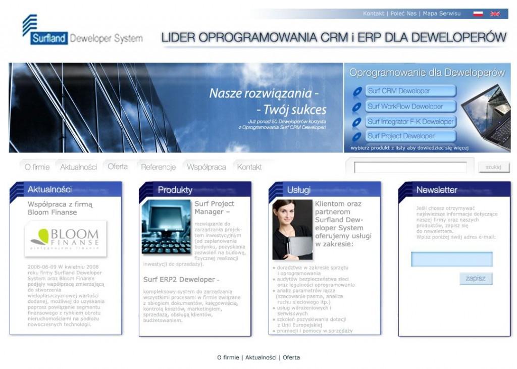Strona WWW_Surfland Deweloper System