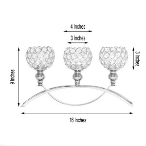 16″ | 3 Arm Crystal Candle Holder