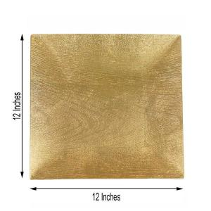 12″ Square Wooden Textured Acrylic Charger