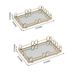 Set of Two Rectangle Mirrored Vanity Trays | 13″x9″ | 14″x10″