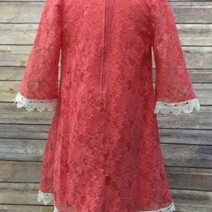 Coral Floral Lace Dress With Pearl Necklace