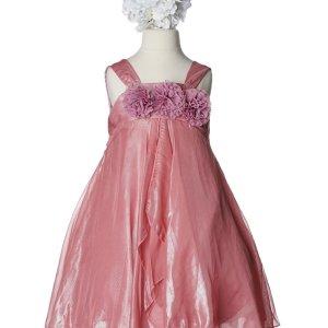 Coral Shimmery Chiffon Flower Girl Dress