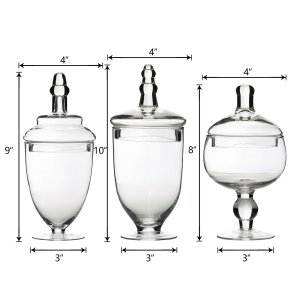Set of 3 Apothecary Glass Candy Jars With Lids – 9″/10″/11″