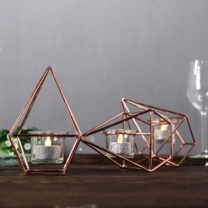 16″ Gold Geometric Candle Holder Set