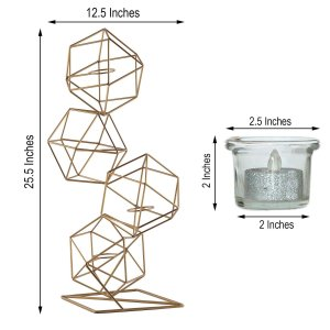 25″ Gold Geometric Candle Holder Set