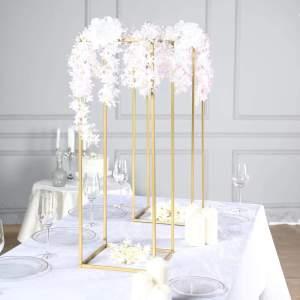 "2 Pack | 32"" Rectangular Gold Metal Wedding Flower Stand"