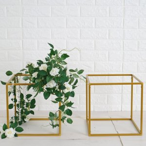 2 Pack | 12″ Square Gold Metal Wedding Flower Stand