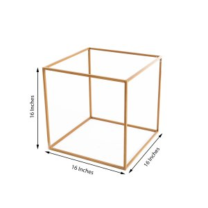 2 Pack | 16″ Square Gold Metal Wedding Flower Stand