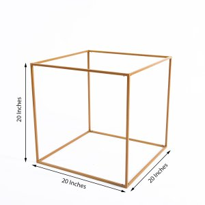 2 Pack   20″ Square Gold Metal Wedding Flower Stand