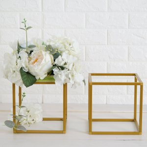 2 Pack | 8″ Square Gold Metal Wedding Flower Stand
