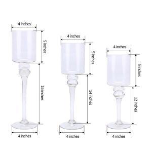 Set of 3   Clear Long Stem Cylinder Glass Vase Candle Holder Set